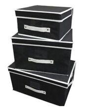 2 x Black 3 Piece Storage Box Sets Fold Flat Fabric Canvas Chest Organiser NEW
