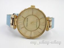 ANNE KLEIN AK/1012 Mother Of Pearl Dial Blue Leather Band Ladies Dress Watch