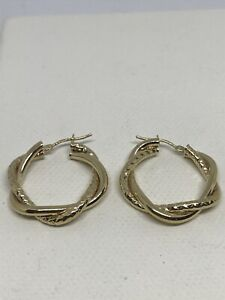 9ct 375 Yellow Gold Double Twisted Hoop Earring  20mm