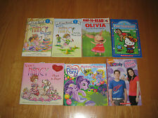 Lot of 7 Girl Themed First Reader Books Little Pony,Fancy Nancy, Olvia, ICarly