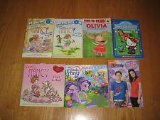 Lot of 7 Girl Themed First Reader Books Little Pony,Fancy Nancy, Olvia, ICarly