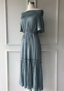 | COUNTRY ROAD | off shoulder shirred dress zinc | NEW | $229 | SIZE: 12,16 |