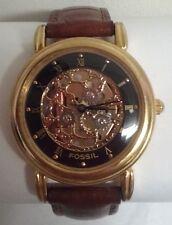 Mens Authentic Fossil Skeleton Dial Goldtone Wrist watch Model SK-4922 WORKS!