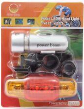5 LED Bici Frontale Luce Anteriore + Luce posteriore Alluminio Wide Beam IMPERMEABILE