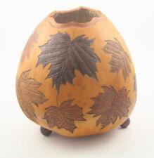 Vintage Edmund W Sprague Hand Carved & Painted Gourd Fall Foliage Leaves Motif