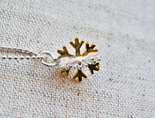 Two Tone Sterling Silver and Gold Vermeil Snowflake Necklace, Christmas, Yule