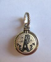 Brighton TRAVEL PARIS Charm- black & White- Eiffel Tower- Bonjour-- silver tone