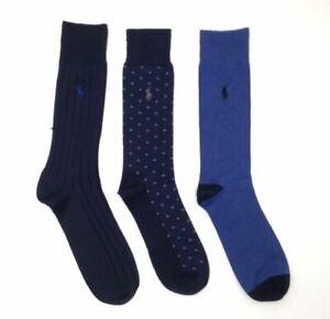 $79 Polo Ralph Lauren Men's 3-Pair Pack Blue Mid-Calf Crew Dress Socks Shoe 6-12