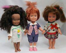 Lot Of 3 Vintage Dolly Surprise Playskool 1987 Dolls Red Brown Black Hair Grows