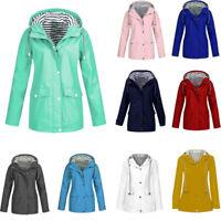 Fashion Women Rain Jacket Outdoor Plus Waterproof Hooded Raincoat Windproof CA