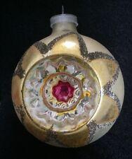 JUMBO LG  W Germany Vtg Glass Black Mica Xmas Ornament  INDENT  Star Glitter