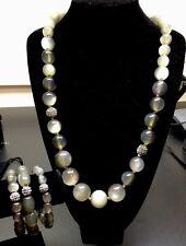 TALBOTS Gray Cat's Eye & Rhinestone Necklace & Bracelet Set, Signed.       A66