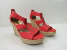 040- Michael Kors Berkley Wedge Bright Red Espadrille Women's Size 10M