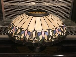"""18"""" TIFFANY STYLE ~ Floral Stained Glass Ceiling Lamp Shade ~ No Cracks See Pics"""
