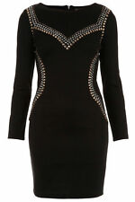 TopShop Women's Polyester Crew Neck Stretch, Bodycon Dresses