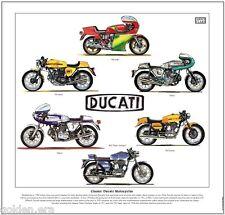 CLASSIC DUCATI MOTORCYCLES - FINE ART PRINT - 900SS 750SS 900MHR Silver Shotgun