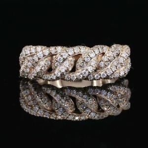 Mens 2.3 Ct Genuine VVS Lab Grown Diamond Cuban Link Ring 10k Yellow Gold Plated