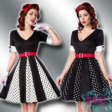 Godet Kleid XS-3XL Rockabelly 50er Jahre V-Aausschnitt Retro Vintage Dots 50022