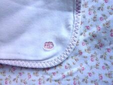 Ralph Lauren Baby Blanket Floral White Pink Receiving Cotton Flowers Lovey
