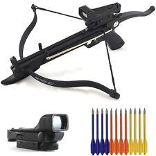 Mini 80 Lb Self Cocking Pistol Gun Crossbow + Red Dot Scope & 15 Bolts Arrows