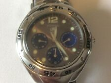 men's fossil blue watch with subtitles all stainless steel new battery