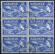 Sarawak 1964-5 sg#209, 15c BLU OLTREMARE QEII definitiva 2nd WMK utilizzato Blocco #d46578
