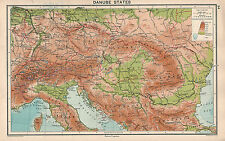 1931 MAP ~ DANUBE STATES PHYSICAL LAND HEIGHTS ITALY YUGOSLAVIA HUNGARY ROMANIA