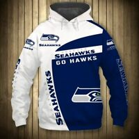 SEATTLE SEAHAWKS Hoodie Hooded Pullover & Long Sleeve shirts S-5XL Football NEW
