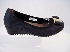 Clarks Black Leather Wedge With Gold Tone Black Bow Buckle Size 41
