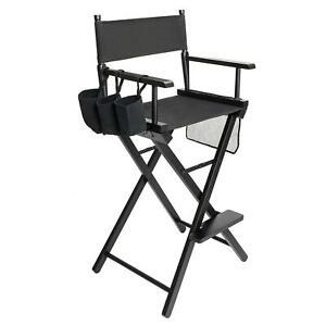 Makeup Artist Director's Chair Aluminum Frame Light Weight and Folding Black