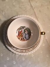 Colonial Couple George & Martha Cup & Sauce 22k Gold Trim