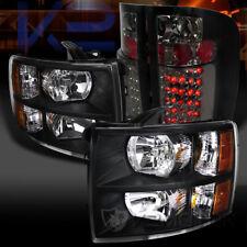 07-14 Silverado 1500/2500/3500HD Black Headlights+Smoke Lens LED Tail Lamps