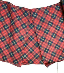 "Springs Vintage Luxury 14"" Bed Skirt Twin Box Pleat Red Blue Plaid Tartan Rare"
