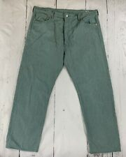 Levi's 501 42-32 Men's Straight Jeans White Oak Cone Denim Green Shrink to Fit