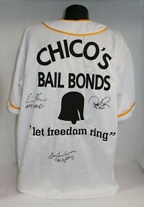 Bad News Bears Multi Triple Signed Custom Chico's Bail Bonds Jersey (XL) COA 993