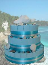 64 Blue Stylish Beach Wedding Themed Favors,  Ribbons and Bows 3 Tier Cake style