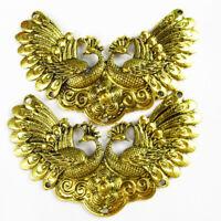 1Pcs Carved Tibetan Gold Peacock Pendant Bead 97x48x3mm DY184PJ