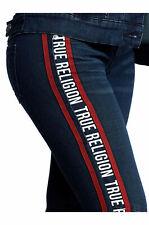 True Religion Women's Ankle Halle Logo Stripe Super Skinny Stretch Jeans