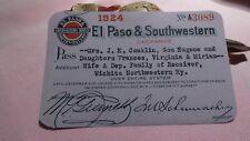 Railroad Pass  1924  El Paso & Southwestern  Railway Company  old RR paper
