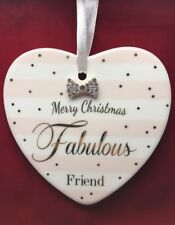 Mad Dots Designed Ceramic Heart Plaque With Merry Christmas Fabulous Friend