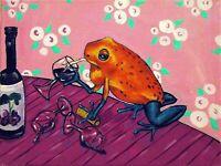 dart frog wine  art artist PRINT prints animals 11x14 impressionism