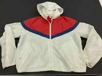 Vintage Nike Early 1980's White/Red/Blue Hooded Lightweight Jacket - Small