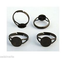 10 Antique BRASS Adjustable RING BLANKS with 10mm Flat Round pad ~ NICE