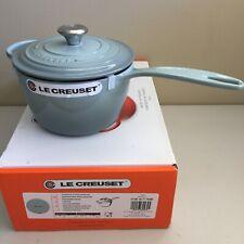 New listing Nib Le Creuset France Signature Cast Iron Saucepan Lid 2 1/4 2.25 qt ~ Sea Salt
