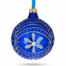 Silver Flowers on Blue Glass Ball Christmas Ornament