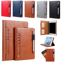 Case For Apple iPad mini Air Pro Smart Leather Flip Pen Holder Wallet Card Cover