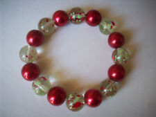 Bracelet, Buy Any 2 Get 3Rd Free New Chunky Red Glass Pearl & Spattered Glass