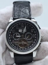 Millage Tourbillion Collection with Black on Silver Genuine Coroco Calf Leather