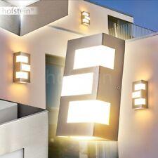 LED Aplique exterior rectangular plateado jardín camino patio balcón garaje