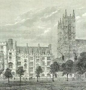DEANS YARD WESTMINSTER woodcut print London History Places c1878